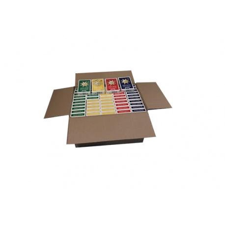Doos met 100 pakjes Helios Speelkaarten (4 kleuren mix)